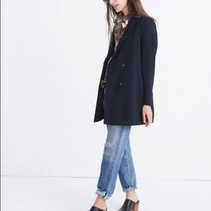 Madewell Caldwell Double Breasted Blazer in Navy